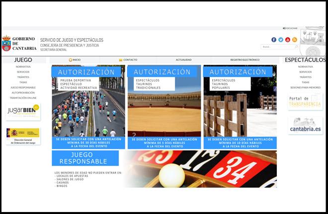 El Gobierno de Cantabria habilita una p&aacute;gina web para la gesti&oacute;n de tr&aacute;mites e informaci&oacute;n sobre juego y espect&aacute;culos<br />