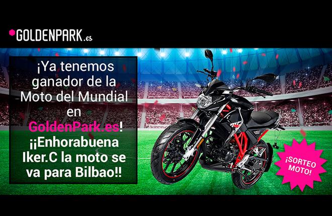 Goldenpark.es anuncia el ganador de la motocicleta sorteada con motivo del Mundial de Rusia 2018<br />