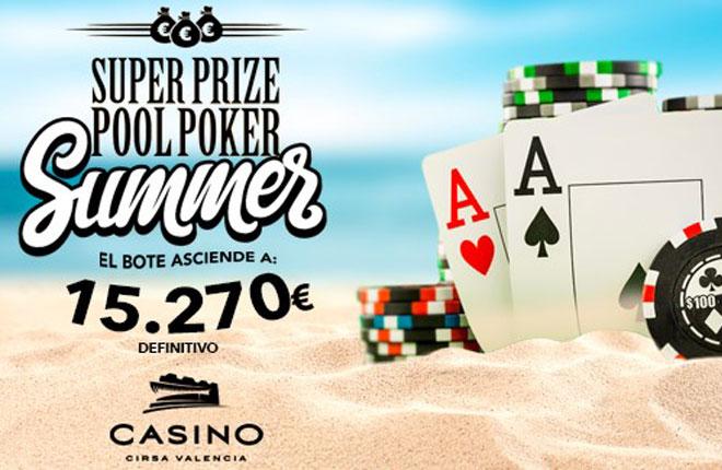 La edici&oacute;n de verano del Superprizepool de Casino Cirsa Valencia contar&aacute; con 15.270 &euro; a&ntilde;adidos <br />