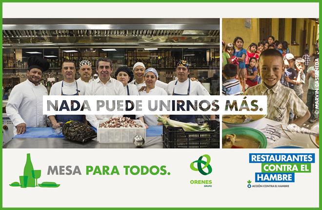 """Grupo Orenes colabora en la campaña """"Restaurantes contra el Hambre"""""""