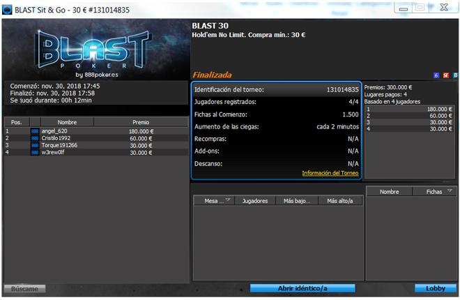Cuatro jugadores ganan 300.000&euro; en 12 minutos con 888 Poker<br />