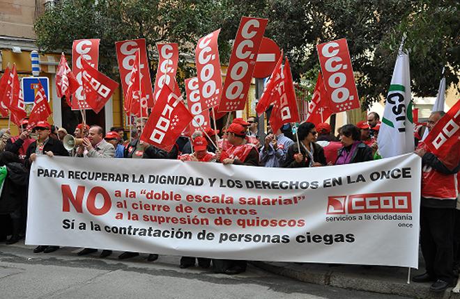 Los trabajadores de CCOO de la ONCE exigen una subida salarial del 3%<br />