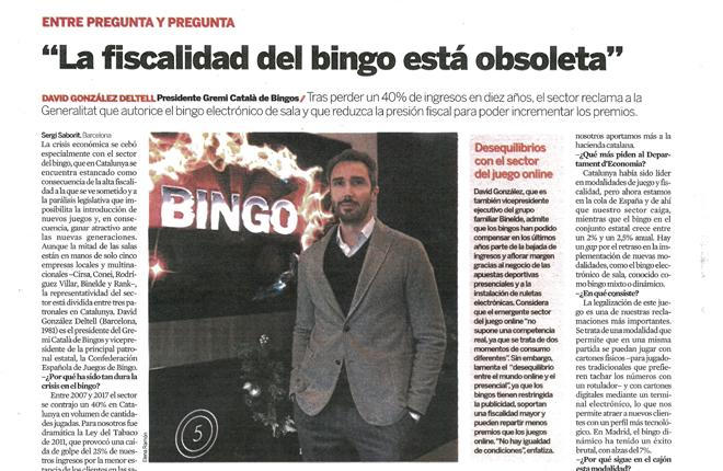 David Gonz&aacute;lez, presidente del GREMI CATAL&Agrave; DE BINGOS, protagonista en el Diario Expansi&oacute;n<br />