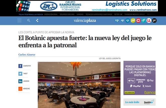 Sigue el &quot;goteo&quot; de noticias en la prensa general sobre los efectos de la futura Ley del Juego en la Comunidad Valenciana<br />