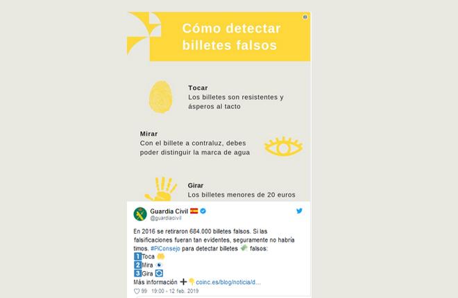 La Guardia Civil alerta de monedas falsas utilizadas en m&aacute;quinas B<br />